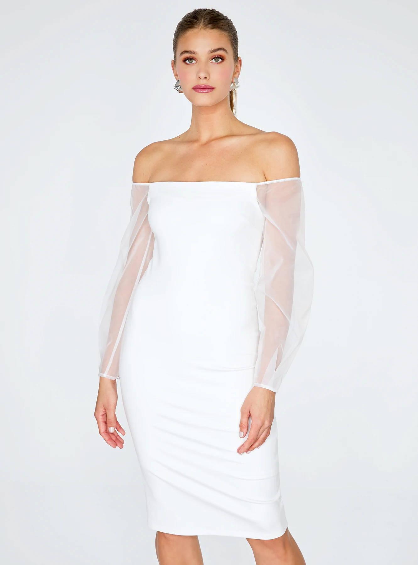 Off White Off-the-Shoulder Midi Pencil Dress