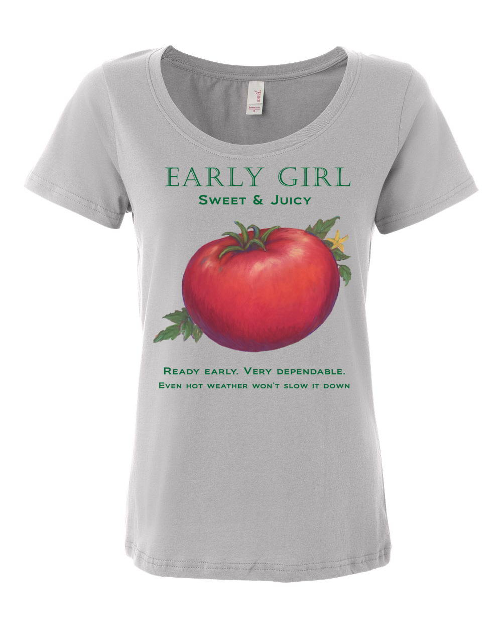 early girl tomato scoop t by liz lauter