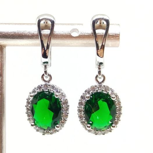 Серьги с зелеными фианитами серебро 925