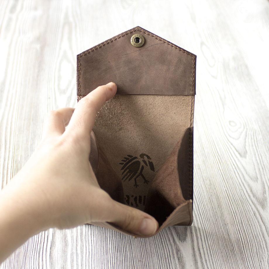 """Мужской кошелек ручной работы для мелочи и карт """"Лесной орех"""""""