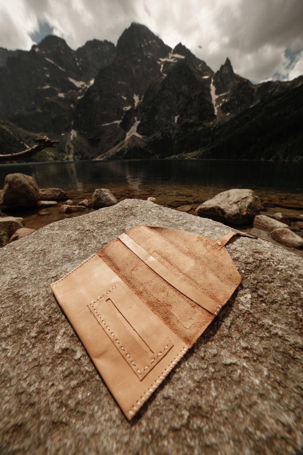 Бежевый кисет из мягкой кожи с герметичным отделением для табака