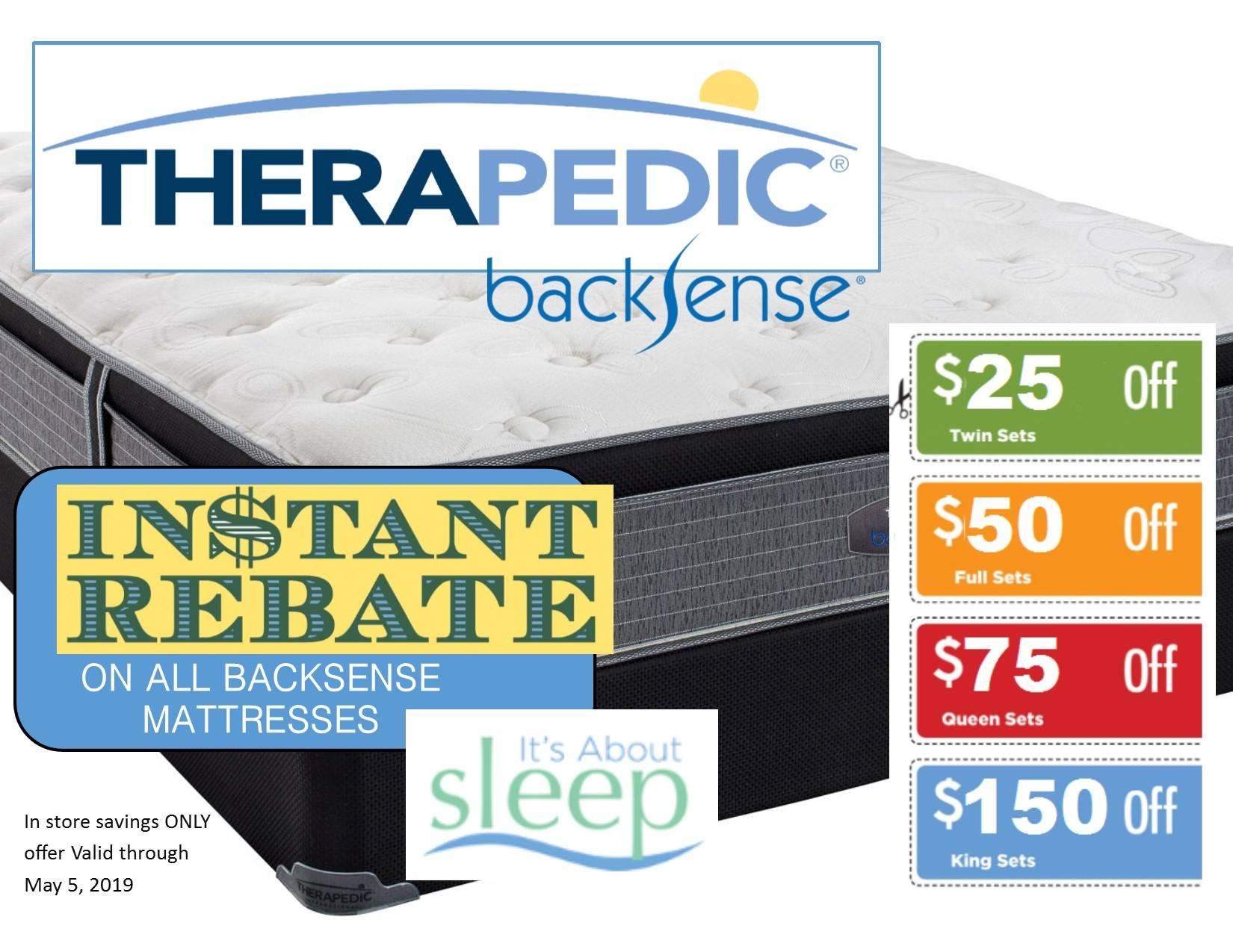 Therapedic BackSense instant rebate sale