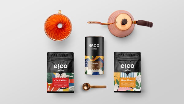 Widarto creating packaging design for local coffee shops, ESCO Coffee.