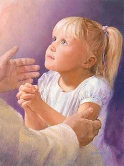 Painting of a little girl praying at Jesus' knee.