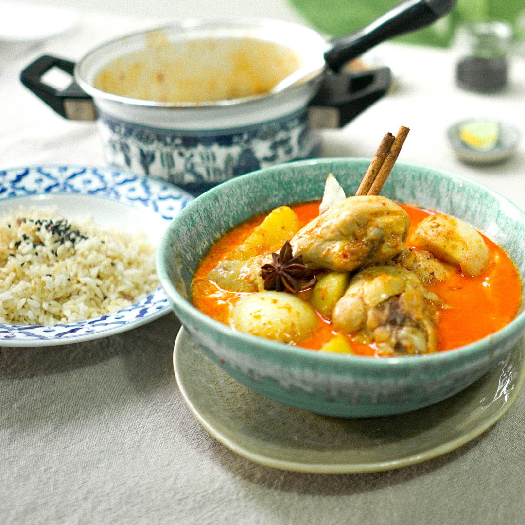 Authentic Thai Massaman Curry, made from fresh Thai herbs and spices.