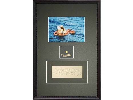 FRAMED KAPTON AND PHOTOGRAPH SIGNED BY BUZZ ALDRIN