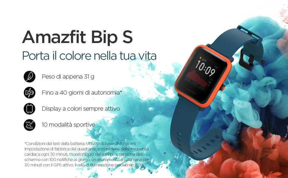 Amazfit Bip S - Porta il colore nella tua vita:Peso di appena 31 g | Fino a 40 giorni di autonomia | Display a colori sempre attivo | 10 mpdalità sportive.