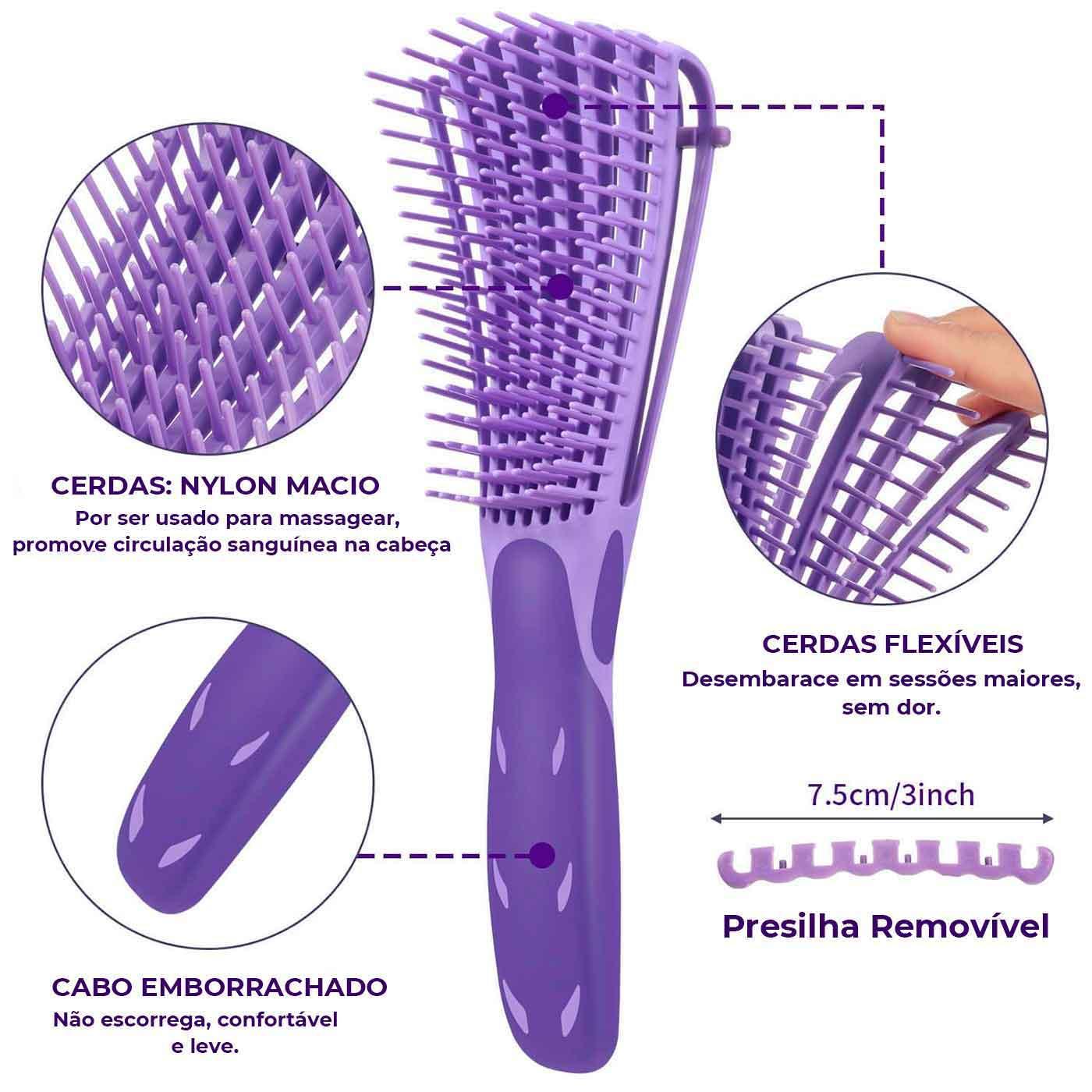 Escova Encaracolados Roxa, Anatomia da Escova, Cerdas Flexíveis, Benefícios de usar a escova Encaracolados, Presilha removível da Escova Encaracolados
