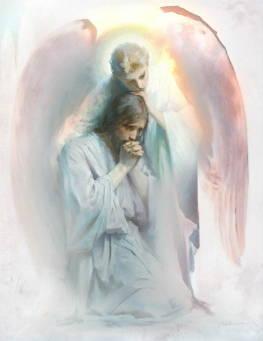 Watercolor painting of an angel comforting Jesus in Gethsemane.