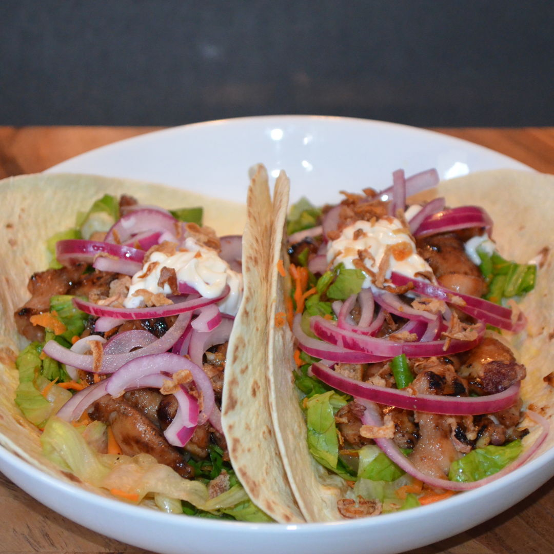 Date: 7 Apr 2020 (Tue) 99th Main: Korean Chicken Tacos with Pickled Onion [302] [159.2%] [Score: 10.0] Cuisine: Korean/Mexican Dish Type: Main