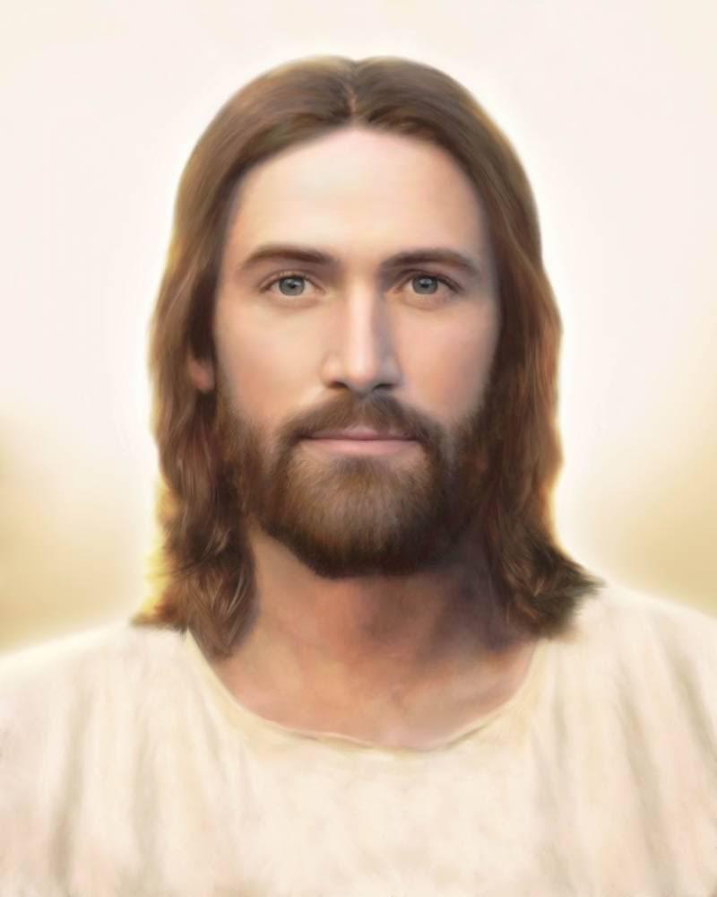 Simple portrait of Jesus Christ against a white backdrop.