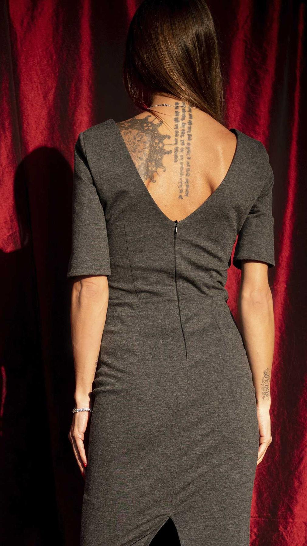 Gray Slim Fit Cotton Dress