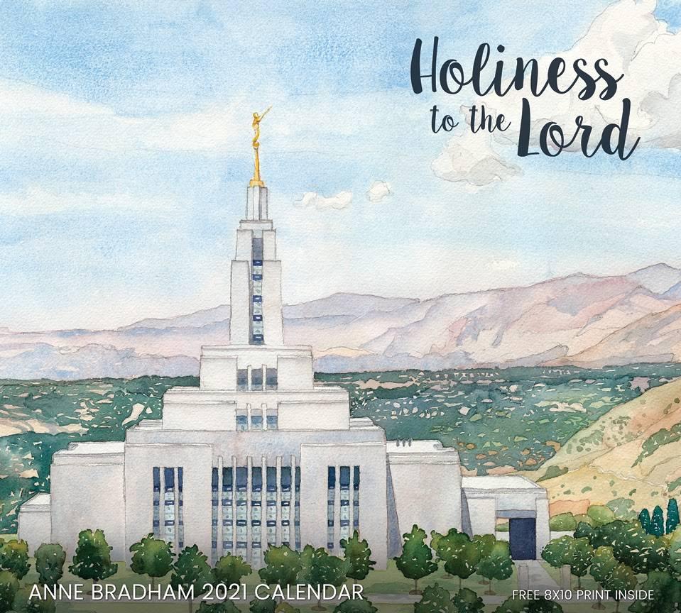 Anne Bradham's 2021 calendar cover. Watercolor painting of Draper, Utah Temple.