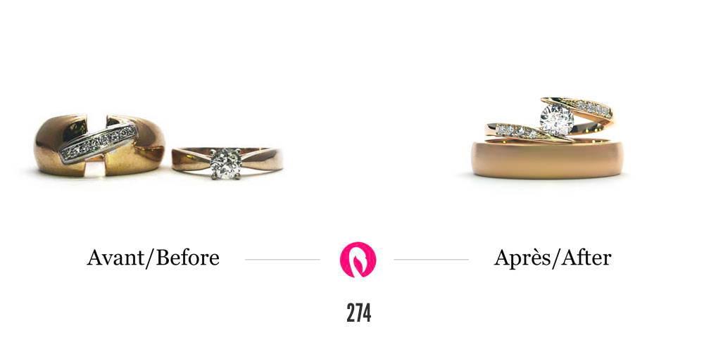 Transformation de deux bagues en or jaune avec diamants en un solitaire semi-éternité large en or jaune