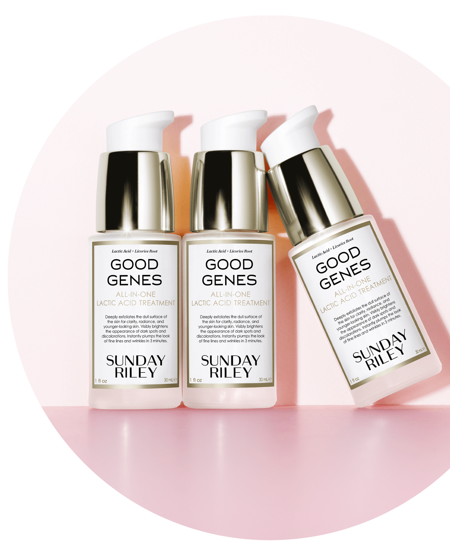 Three Good Genes Lactic Acid Treatment bottles (30ml) standing against a pink backdrop