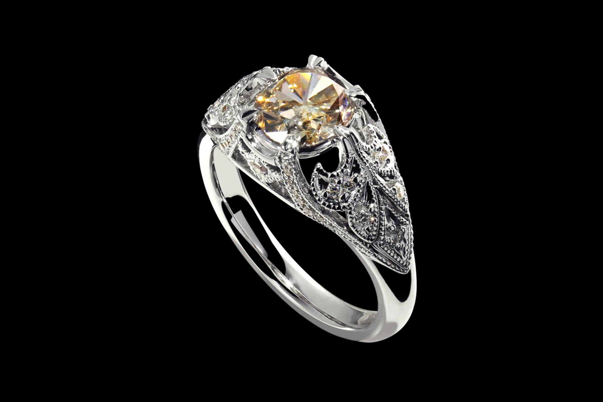Champagne Diamond Victorian Ring 45 degrees view