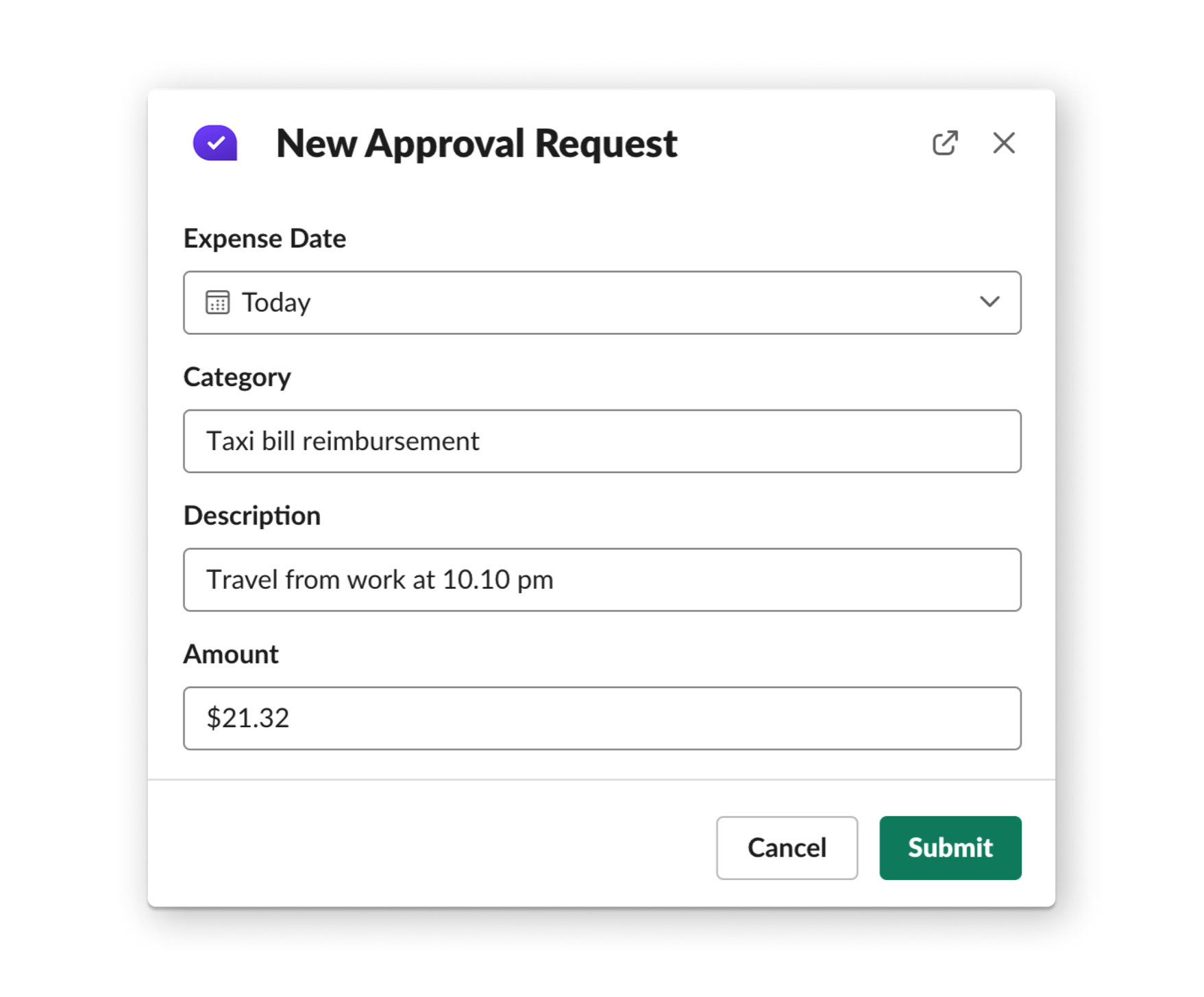 New expense approval
