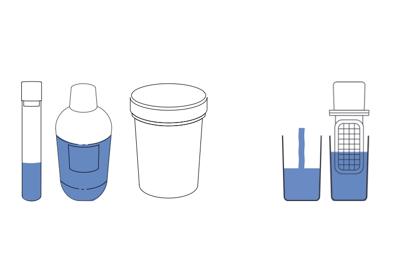 Schema of a tube, a bottle of water, a pot and a nomad tester