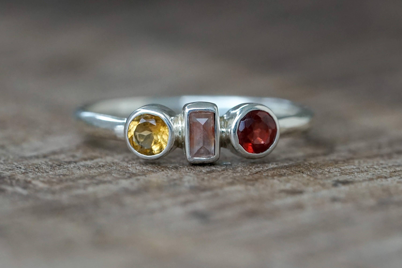 Custom silver gemstone ring