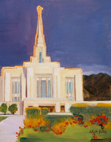 Painting of Ogden Temple against a clear blue sky.