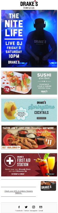 restaurant email marketing example special event