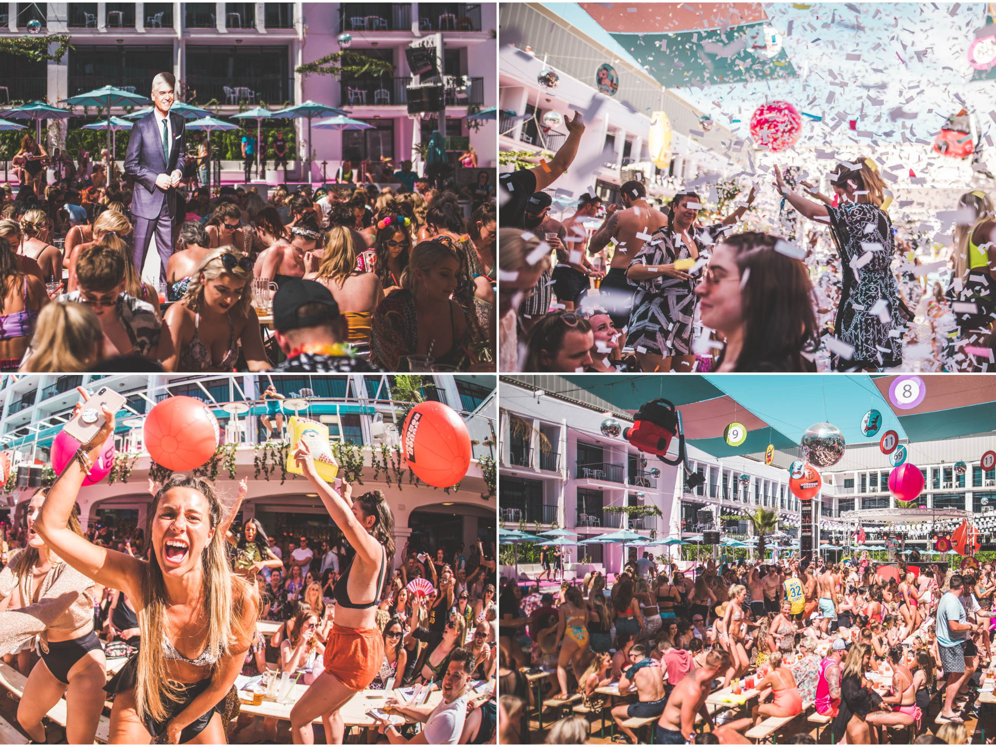 Collage Bongos Bingos pool party Ibiza rocks review