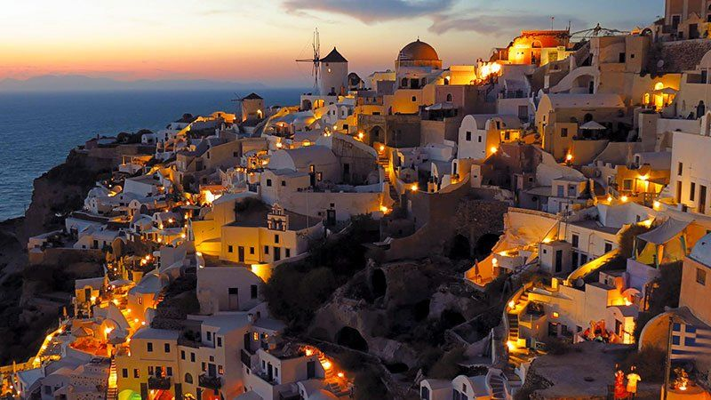 Santorini by night, Greece