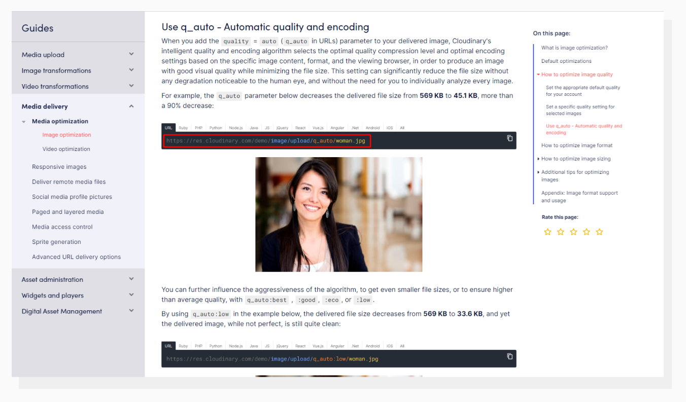 Automatic Quality and Encoding by Cloudinary