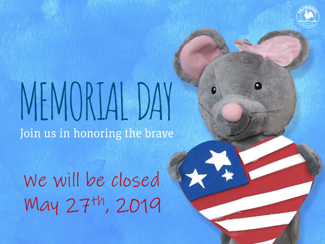 Mia the Mouse holding a heart with stars and stripes while announcing we are closed on May 27th