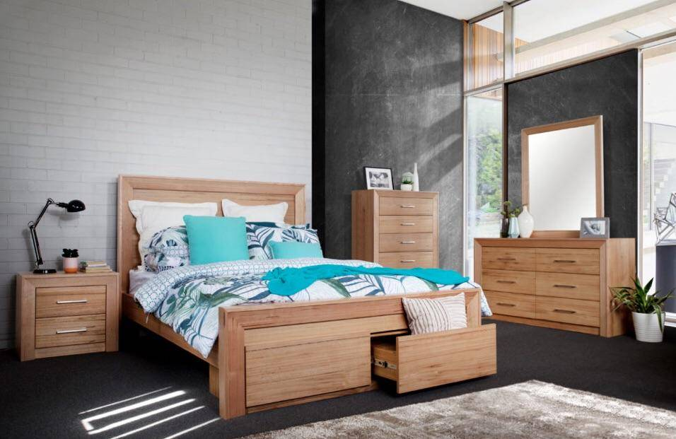 Natural messmate timber bedroom suite in lifestyle setting