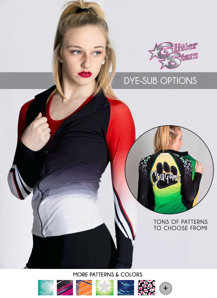 dyesub dye sub glitterstarz warmup jacket team red green cheetah sublimated