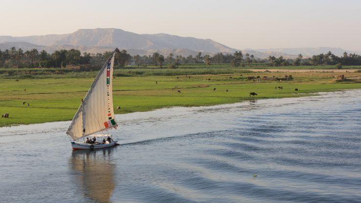 Enjoying a felucca cruise down the Nile River