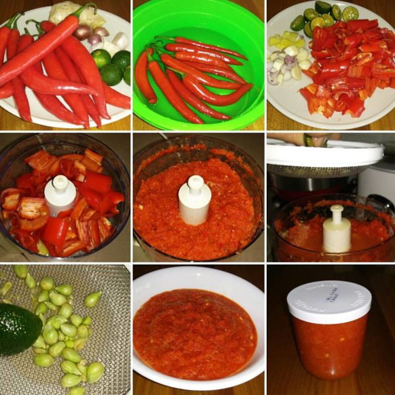 A photo collage of how I made my homemade chilli sauce! Something homemade I have been making for many years!!