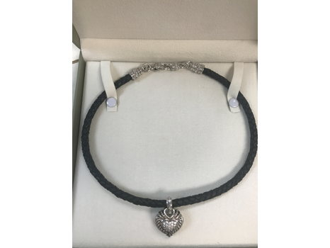 Sterling and Black Rope Necklace with a Sterling Heart Pendant from Judith Ripka Fine Jewelry