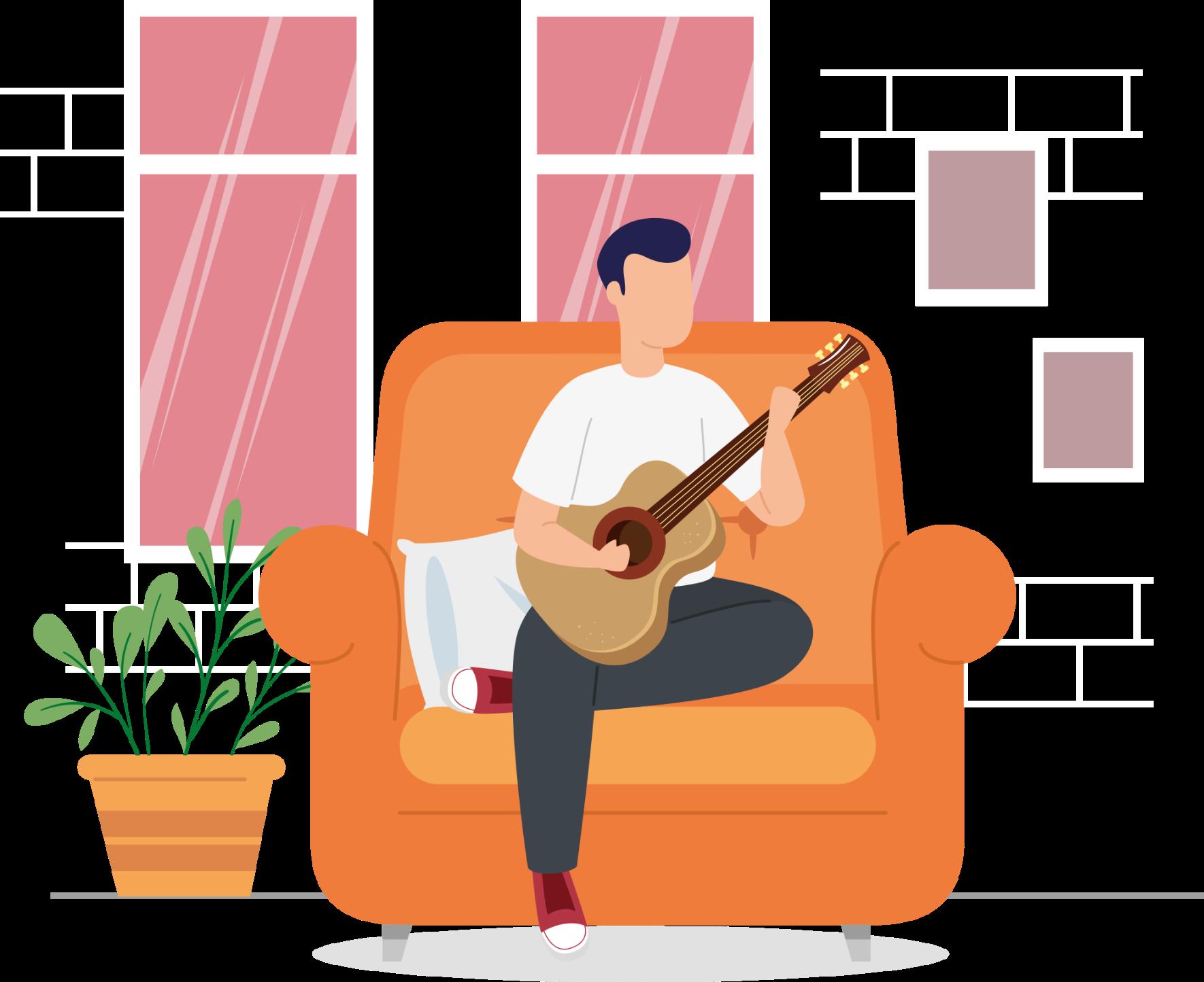 Sentado sofa guitarra