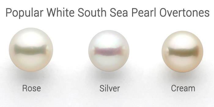 white south sea pearl overtones: rose, silver, cream