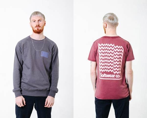 Man wearing organic cotton grey Wawwa sweatshirt and man wearing washed out red organic cotton t-shirt with white large wave print