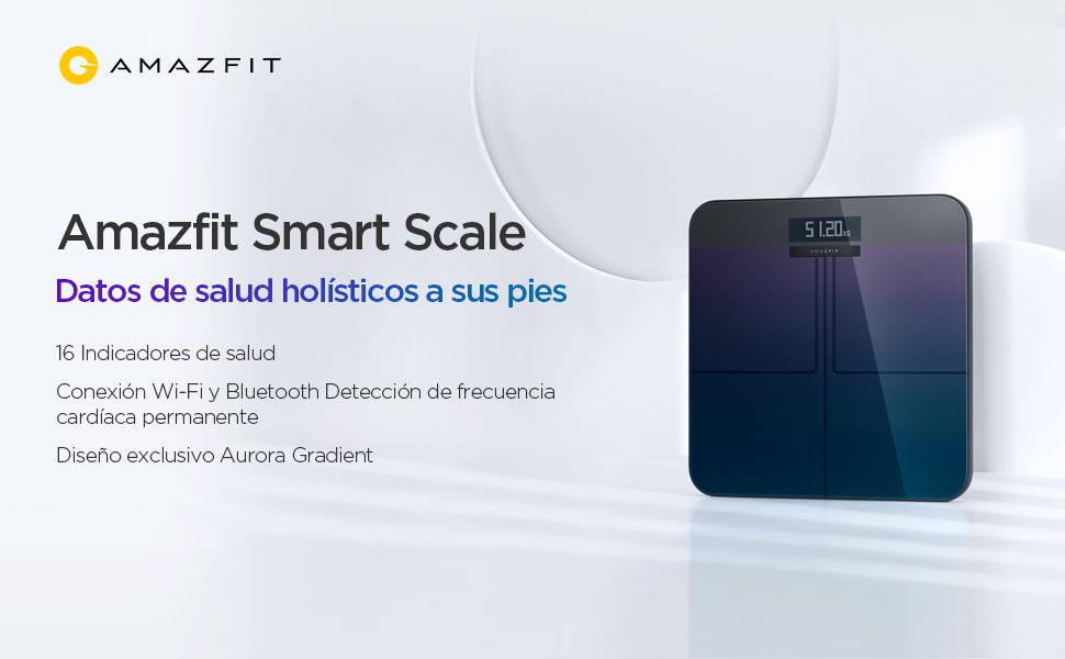 Amazfit Smart Scale - Datos de salud holística a sus pies  Mediciones de gran precisión | 16 métricas de salud corporal | Conexión Wi-Fi + Bluetooth Detección de frecuencia cardíaca en reposo | Exclusivo diseño de degradado de aurora