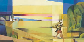 Abstract painting of a man sowing seeds in a field.