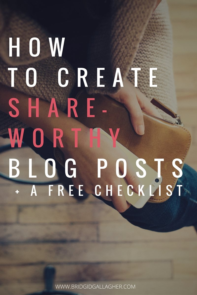 How to Create a Share-Worthy Blog Post in 7 Steps + a Free Checklist // It's important that you share your posts on social media, but you also want to craft your post in a way that 1) makes people want to share it, 2) makes it easy for them to do so. Read the post to learn seven simple steps you can take to make each of your blog posts share-worthy and be sure to snag your downloadable post check list - the link is at the bottom of the post >>>>