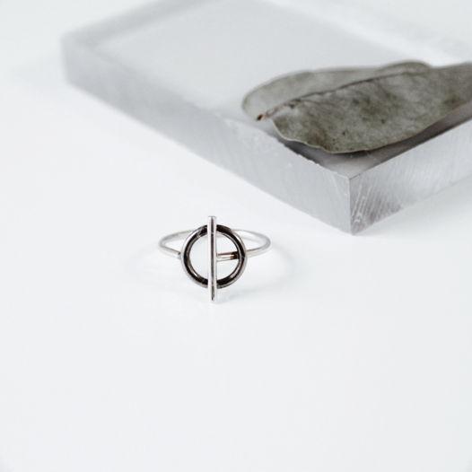 Кольцо 'Binary' серебро с черным родием