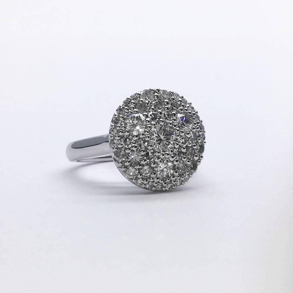 Recycled white gold and diamond pavé custom ring