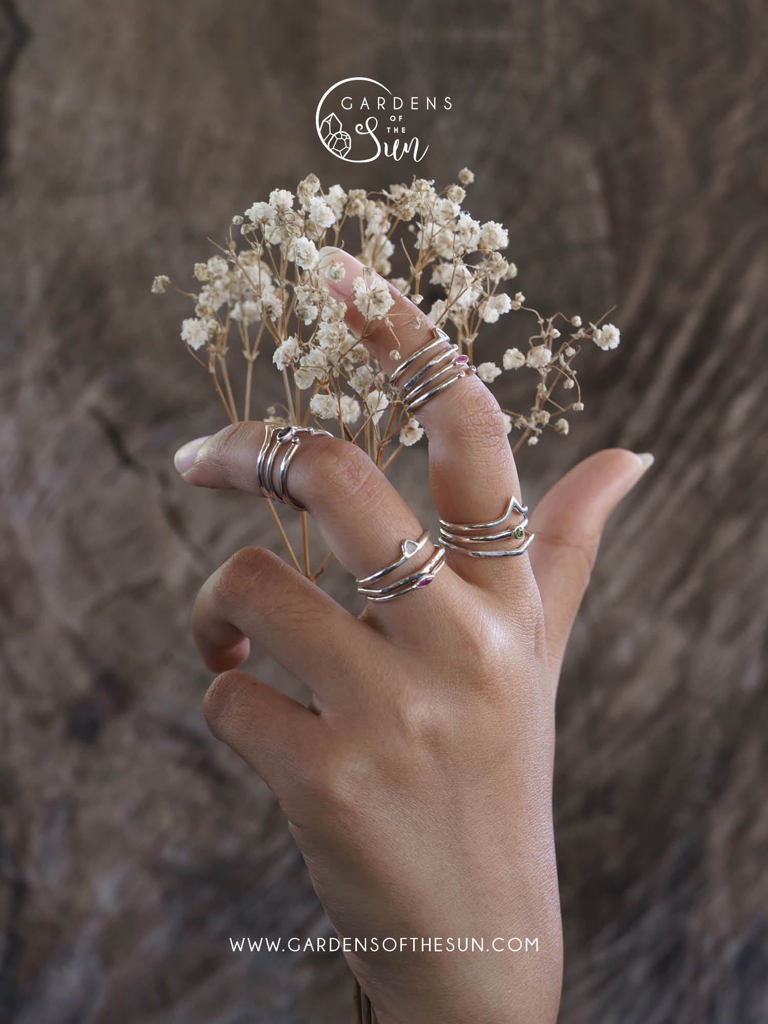 Dainty silver stacking rings