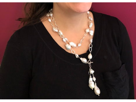 Faux Lariat Baroque + Keshi Pearl Necklace by Margaret Ellis