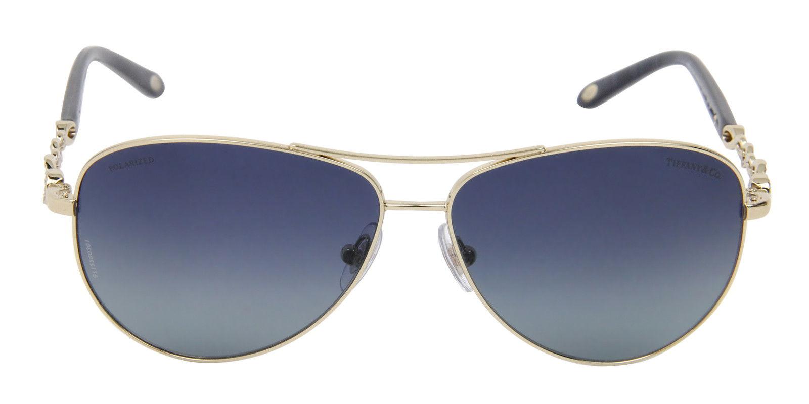 TIFFANY WOMEN'S TF3049B GOLD  BLUE LENS SUNGLASSES (font)