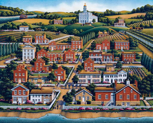 Painting of early Nauvoo with the temple on a hill in the background.