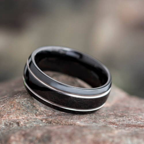 Black Titanium Black Metal Rings