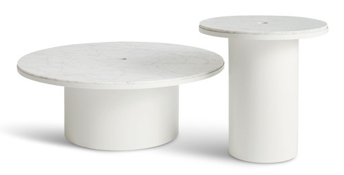 Carrara marble coffee and side tables by Blu Dot
