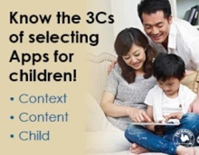 Poster explaining the three things to keep in mind while selecting apps for children