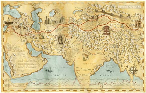 map showing the silk road route